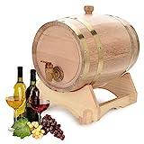 1.5l / 3l / 5l / 10l barril de madera barriles de cerveza barril de vino con grifo, tapón y soporte de madera, cerveza casera cerveza barril de cerveza, perfecto para cerveza whisky o vino(5L)