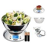 Báscula de Cocina Digital con Bol Removible de Acero Inoxidable, Pantalla LCD Retroiluminda para fácil lectura, Temporizador y Sensor de Temperatura Capacidad 5kg /11lbs Modelo HK101